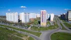 Område av staden med nybyggen Arkivfoton