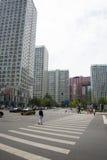 Område för central affär för Asien Peking, Kina, modern arkitektur, många-storied byggnader för stad Arkivbilder