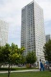 Område för central affär för Asien Peking, Kina, modern arkitektur, många-storied byggnader för stad Arkivfoto