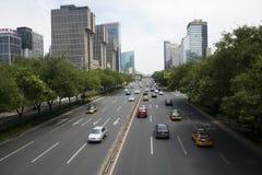 Område för central affär för Asien Peking, kines, stadstrafik Royaltyfri Fotografi