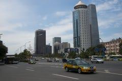 Område för central affär för Asien Peking, kines, stadstrafik Arkivbilder