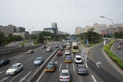 Område för central affär för Asien Peking, kines, stadstrafik Royaltyfria Foton