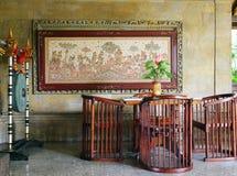 Område för lobby för Bali semesterort välkomnande royaltyfri fotografi