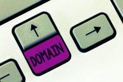 Område för ordhandstiltext Affärsidé för distinkt underdel av internet med adresser som delar gemensam ändelse royaltyfri bild
