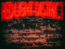 Område för rött ljus för neontecken Royaltyfri Foto