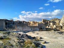 Område för sassi för Matera UNESCOvärldsarv - Basilicata, södra Italien arkivbilder