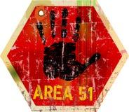 Område 51 för varningstecken Arkivfoton