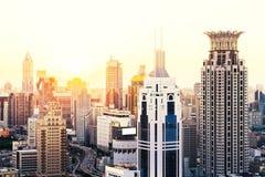 Område Shanghai för central affär Arkivfoto