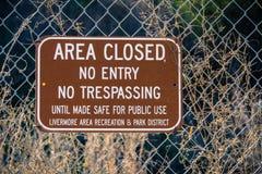 Område stängde sig, inget tillträde, inget inkräkta royaltyfria bilder