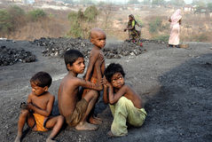 områdesbarncoalmine india royaltyfri bild