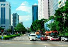 Området för central affär av Singapore arkivbilder