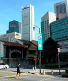 Området för central affär av Singapore Royaltyfria Foton