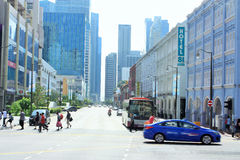 Området för central affär och kineskvarteret av Singapore arkivfoto