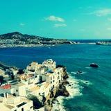 Område för Sa Penya i den Ibiza staden, Balearic Island, Spanien Arkivbild