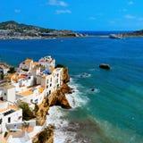 Område för Sa Penya i den Ibiza townen, Balearic Island, Spanien Arkivfoto