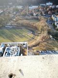område moscow en panorama- sikt Konstnärlig blick i livliga färger för tappning Arkivfoton