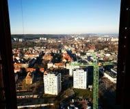 område moscow en panorama- sikt Konstnärlig blick i livliga färger för tappning Royaltyfria Bilder