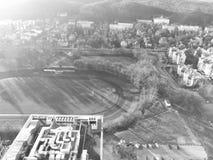 område moscow en panorama- sikt Konstnärlig blick i svartvitt Royaltyfri Bild