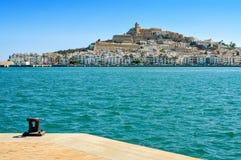 Områden för Sa Penya och Dalt Vila i den Ibiza staden, Spanien Royaltyfria Bilder