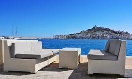Områden för Sa Penya och Dalt Vila i den Ibiza staden, Spanien Arkivfoton