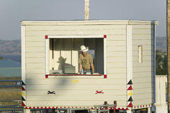 Omroeper met cowboyhoed royalty-vrije stock foto