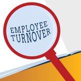 Omsättning för anställd för ordhandstiltext Affärsidé för nummer eller procentsats av arbetare som lämnar en organisation stock illustrationer
