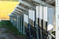 Omschakelaars voor zonne photovoltaic modules die vernieuwbaar zonnee gebruiken royalty-vrije stock afbeeldingen