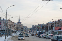 Omsk central road. Near the bridge and stop the pearl Stock Photography