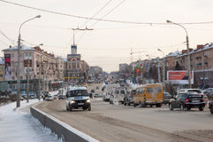 Omsk central road. Near the bridge and stop the pearl Stock Images