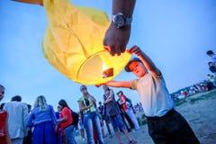 Omsk Rosja, Czerwiec, - 16, 2012: festiwal Chiński lampion Fotografia Royalty Free