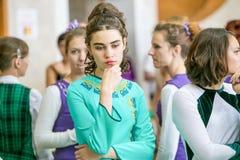 Omsk Rosja, Sierpień, - 22, 2015: Międzynarodowa konkurencja irlandzki taniec Zdjęcia Stock