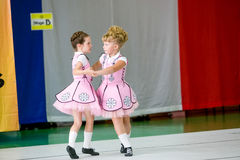 Omsk Rosja, Sierpień, - 22, 2015: Międzynarodowa konkurencja irlandzki taniec Obrazy Stock