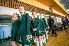 Omsk Rosja, Sierpień, - 22, 2015: Międzynarodowa konkurencja irlandzki taniec Zdjęcie Stock