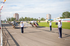 Omsk, Russia - August 03, 2013: Auto rodeo, car stunts Royalty Free Stock Photography