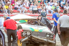 Omsk, Russia - August 03, 2013: Auto rodeo, car stunts Royalty Free Stock Images