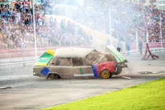 Omsk, Russia - August 03, 2013: Auto rodeo, car stunts Stock Photography