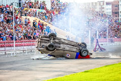 Omsk, Russia - August 03, 2013: Auto rodeo, car stunts Stock Image