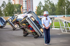 Omsk, Russia - August 03, 2013: Auto rodeo, car stunts Stock Photo