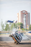 Omsk, Russia - August 03, 2013: Auto rodeo, car stunts Royalty Free Stock Photos