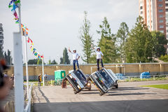 Omsk, Russia - August 03, 2013: Auto rodeo, car stunts Stock Photos