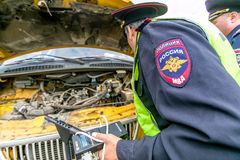 Omsk, Russia - July 10, 2015: traffic police raid Royalty Free Stock Images