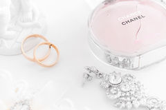 Omsk, Russia - June 03, 2014: bride morning  perfume Chanel Royalty Free Stock Images