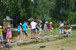Omsk, Russia - June 21, 2012: children in active leisure outdoor Royalty Free Stock Images