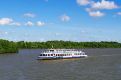 Omsk, Russia - June 28, 2010: floating river passenger ship closeup Stock Photo