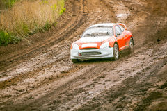 Omsk, Russia - June 22, 2014: Rally car in smoke Stock Photo