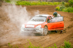 Omsk, Russia - June 22, 2014: Rally car in smoke Stock Images