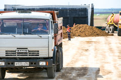 Omsk, Russia - June 2: truck drive on road construction Stock Image