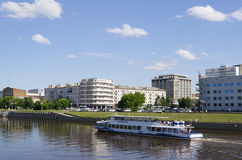OMSK, RUSSIA - JUNE 12, 2015: View river Om embankment and floating ship Royalty Free Stock Image