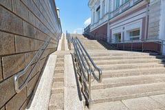Omsk, Russia Un grande moderno bagna la rampa per le sedie a rotelle Fotografia Stock