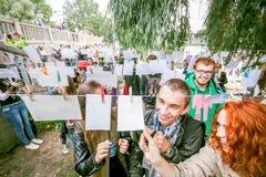 Omsk, Russie - 21 mai 2014 : Photographie de festival sur la rue Photographie stock libre de droits